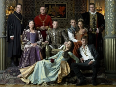 The main cast of the Tudors from the first season (from left to right):  Thomas More (Jeremy North), Cardinal Wolsey (Sam Neill), Queen Catherine (Maria Doyle Kennedy), Henry VIII (Jonathan Rhys-Meyers), Charles Brandon (Henry Cavill), Margaret Tudor (Gabrielle Anwar), Edward Stafford, Duke of Buckingham (Steven Waddington), Anne Boleyn (Natalie Dormer)  George Boleyn (Padraic Delaney)