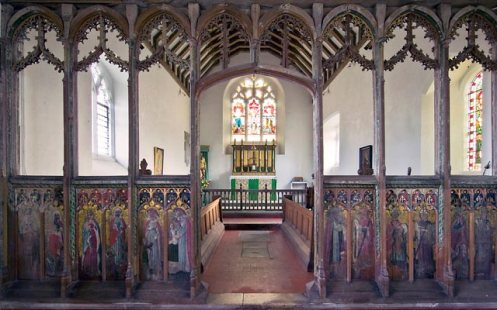 Restored rood screen at Houghton St. Giles, Walsingham