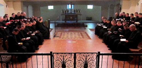 The monks of Our Lady of the Annunciation of Clear Creek at prayer